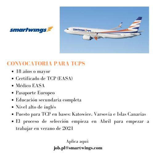 La compañía aérea Smartwings está actualmente contratando TCPS para sus bases en Islas Canarias, Katowice y Varsovia