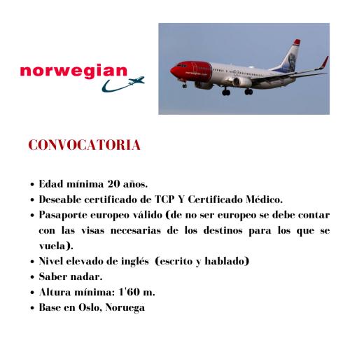 Norwegian busca actualmente tcps para su base en Oslo