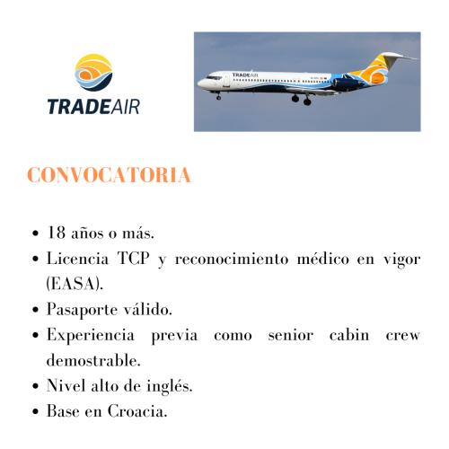 TradeAir busca Senior Cabin Crew