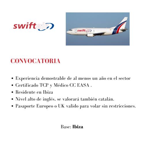 Swift air busca TCPs para su base en Ibiza