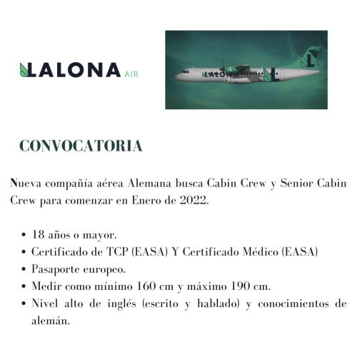 Lalona Air busca Senior Cabin Crew y Cabin Crew
