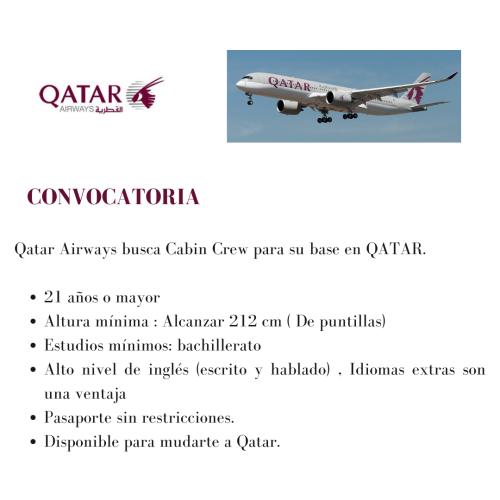 Qatar Airways busca tripulantes de cabina